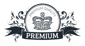 Premium quality stamp. Vintage seal with premium quality and royal crown in the middle of the seal Royalty Free Stock Photo