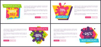 Premium Quality Super Sale, on All Products -90. Off, best discounts set of vector promotional posters with abstract labels with place for text Stock Images