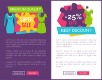 Premium Quality Super Sale 25 Off Best Discount. Web posters set with stylish summer collection dresses, place for text on online shopping banners vector Royalty Free Stock Photo