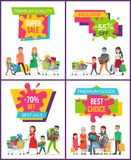 Premium Quality Super Sale Set Vector Illustration. Premium quality super sale, exclusive -55 off, set of placards with images of family with bags and shopping Stock Images