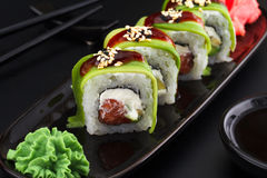Premium quality sushi rolls with ginger wasabi and soy sauce Stock Image