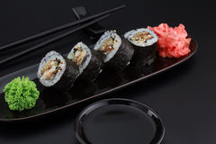 Premium quality sushi rolls with ginger wasabi and soy sauce Royalty Free Stock Image