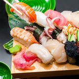 Premium quality sushi rolls served in Japanese restaurant Royalty Free Stock Image