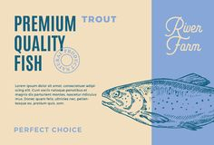 Premium Quality Trout. Abstract Vector Fish Packaging Design or Label. Modern Typography and Hand Drawn Trout Silhouette. Background Layout Royalty Free Stock Photography