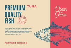 Premium Quality Tuna. Abstract Vector Fish Packaging Design or Label. Modern Typography and Hand Drawn Tuna Silhouette. Background Layout Stock Photo