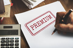 Premium Quality Value Guarantee Worth Standard Concept Stock Image