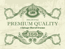 Premium quality vintage floral frame. In dollar style Royalty Free Stock Photography