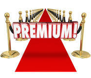 Premium Red Carpet Treatment Top Customer Priority Status. Premium word in 3d letters on a red carpet to illustrate exclusive top tier treatment for a customer Stock Images