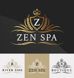 Premium Royal Crest Logo Design. Suitable for Spa, beauty Center, Real Estate, Hotel, Resort, House logo Vector illustration Stock Image