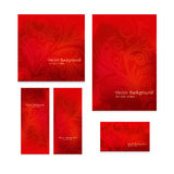 Premium royal vintage Victorian set of five templates red floral classic backgrounds Stock Photo