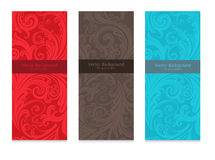 Premium royal vintage victorian set of three templates colorful floral classic backgrounds Stock Images