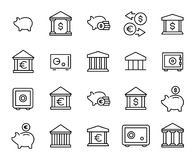 Premium set of bank line icons. Simple pictograms pack. Stroke vector illustration on a white background. Modern outline style icons collection Stock Photos