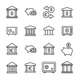 Premium set of bank line icons. Royalty Free Stock Photos