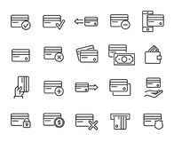 Premium set of credit card line icons. Simple pictograms pack. Stroke  illustration on a white background. Modern outline style icons collection Stock Images