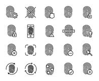 Premium set of finger print line icons. Simple pictograms pack. Stroke vector illustration on a white background. Modern outline style icons collection Stock Photography