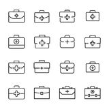 Premium set of first aid kit line icons. Simple pictograms pack. Stroke vector illustration on a white background. Modern outline style icons collection Royalty Free Stock Photos
