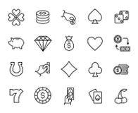 Premium set of gambling line icons. royalty free illustration
