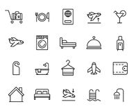 Premium set of hotel line icons. Simple pictograms pack. Stroke vector illustration on a white background. Modern outline style icons collection Stock Photos
