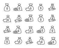 Premium set of moneybag line icons. Stock Photography