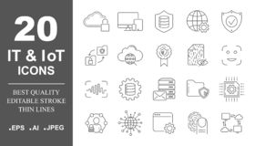 Premium set of network, IT, IoT line icons. Simple pictograms pack. Stroke vector illustration on a white background vector illustration