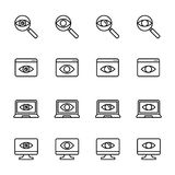 Premium set of observation or monitoring line icons. Stock Photo