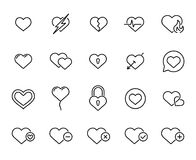 Free Premium Set Of Heart Line Icons Stock Images - 102927764