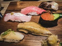 Premium sushi at Taipei fish market stock photos