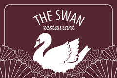 Premium swan on fan wave japanese or chinese style on deep red b Royalty Free Stock Images
