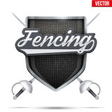 Premium symbol of Fencing shield label Stock Photo