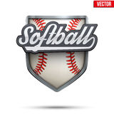 Premium symbol of Softball label. Symbol of sport or club with shield and tag. Vector Illustration isolated on white background royalty free illustration