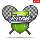 Premium symbol of Tennis. Fencing shield label with shield and ball and raquets. Symbol of sport or club. Vector Illustration isolated on white background Stock Photography