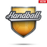 Premium symbols of Handball Shield Emblem Stock Photography
