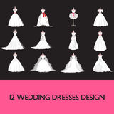 Premium wedding dress set. Premium beautiful wedding dresses vector set Stock Illustration