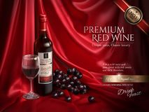 Premium wine ads. Delicious wine with grape and wine glass on red satin background in 3d illustration Royalty Free Stock Image