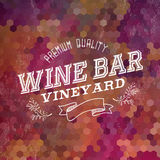Premium Wine bar vintage label illustration background Royalty Free Stock Image