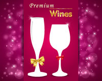 Premium wines poster, party invitation, goblet on vibrant background. Premium wines card Royalty Free Stock Photos
