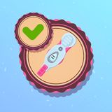 Prenancy Test With Positive Result Icon Pregnant Woman Concept. Flat Vector Illustration Royalty Free Stock Image