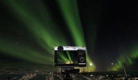 Prenant le paysage de photo du beau phénomène naturel étonnant Aurora Borealis, en Islande images stock