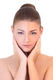 Prenant un bain de soleil le concept - belle femme avant et après le bronzage Image stock