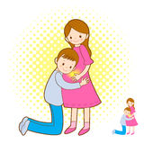 Prenatal care for pregnant women and her family. Marriage and Pa Stock Photos