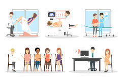 Prenatal clinic set. Characters on white background. Sonography, gynecologist and pregnancy class Stock Photography