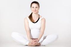 Prenatal Yoga, butterfly pose Stock Photos