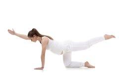 beautiful pregnant mom in yoga asana isolated on w stock