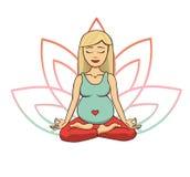 Prenatale yoga Vectorillustratie van het jonge leuke blondemeisje mediteren in lotusbloempositie met bloembloemblaadjes in roze e royalty-vrije illustratie