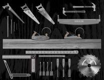 Prenda il migliore strumento e faccia un capolavoro di legno Immagine Stock