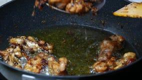 Prenda il pollo fritto maturo dalla palma da olio bollita dell'alimento archivi video