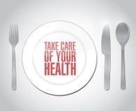 Prenda la cura della vostra illustrazione del messaggio di salute Fotografie Stock Libere da Diritti
