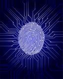 Prenda le impronte digitali all'esame, il sistema di sicurezza biometrico digitale, la protezione dei dati, il fondo blu scuro, i Fotografia Stock