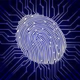Prenda le impronte digitali all'esame, il sistema di sicurezza biometrico digitale, la protezione dei dati, il fondo blu scuro, i Fotografie Stock