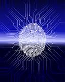Prenda le impronte digitali all'esame, il sistema di sicurezza biometrico digitale, la protezione dei dati, il fondo blu scuro, i Immagini Stock